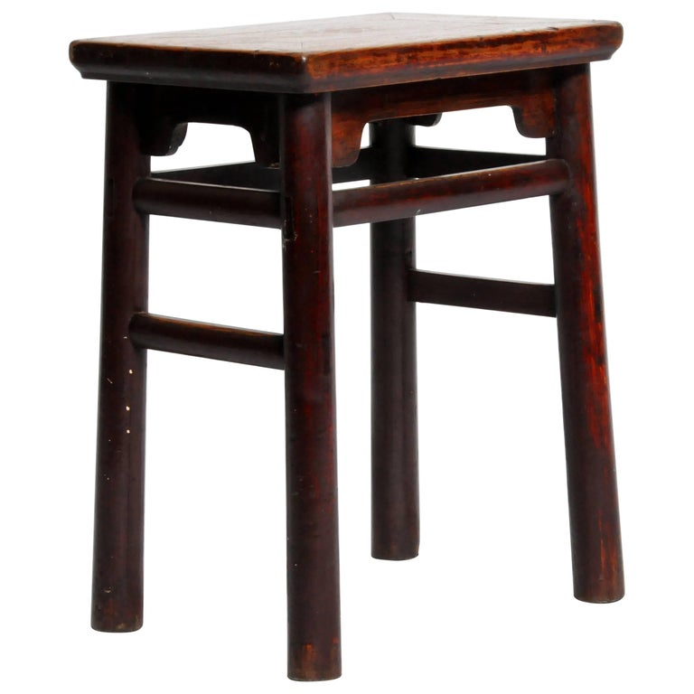 Qing Dynasty Chinese Stool with Round Legs and Original Lacquer For Sale