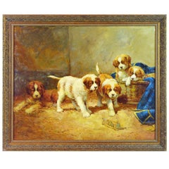 Family of St. Bernard Puppies Playing Around a Mouse Trap by Jean Lefort