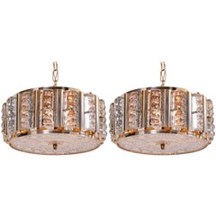 Pair of Carl Fagerlund Pendant Lamps in Brass and Orrefors Glass by Lyfa