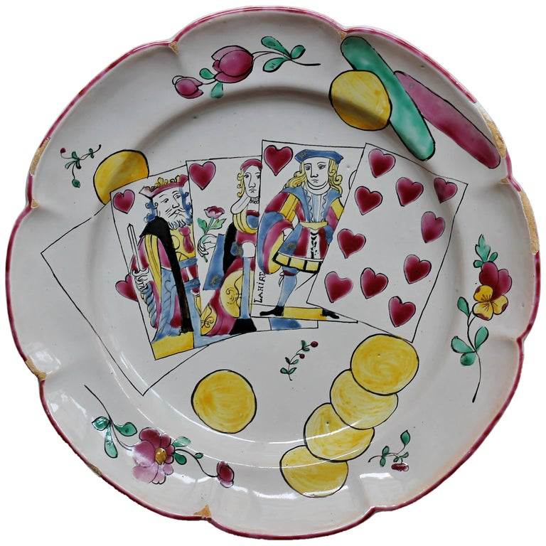 South of France, 18th Century, Plate in Faience with a Royal Flush