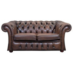 Chesterfield Leather Sofa Brown Two-Seat Couch Retro Vintage
