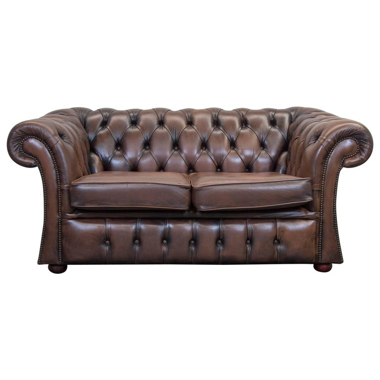 Chesterfield Leather Sofa Brown Two Seat Couch Retro Vintage At 1stdibs