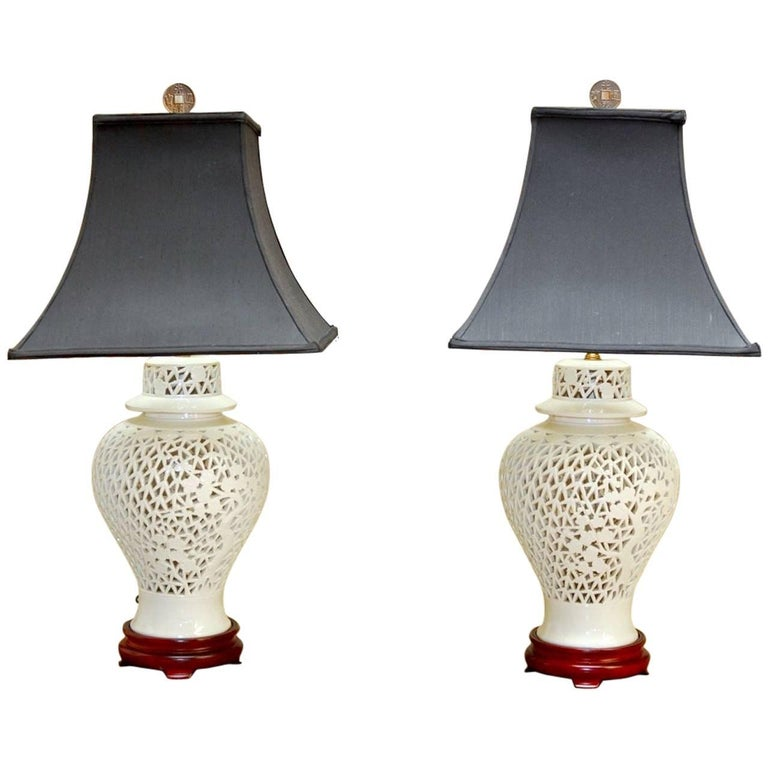 Pair Of Blanc De Chine Porcelain Ginger Jar Table Lamps For