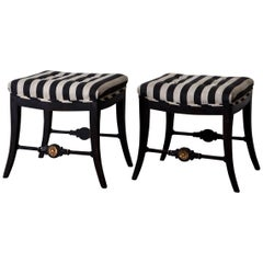 Pair of Neoclassical Swedish Stools, 19th Century, Sweden