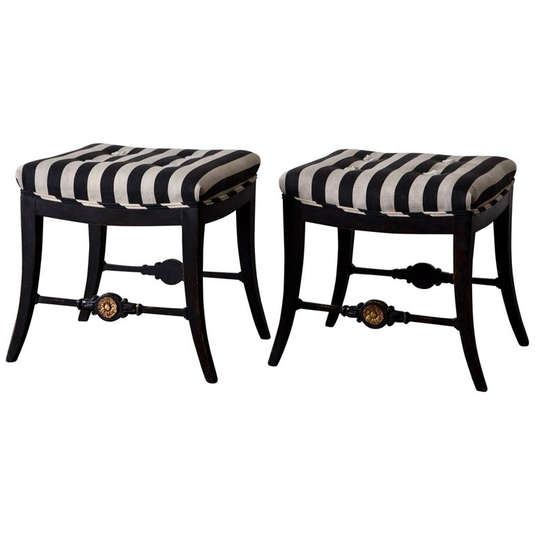 Pair of Neoclassical Swedish Stools, 19th Century, Sweden For Sale