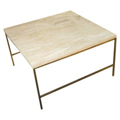 Paul McCobb Style Brass and Travertine Cocktail Table
