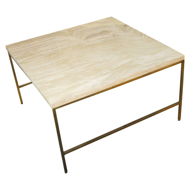 Paul McCobb Style Brass and Travertine Cocktail Table 1