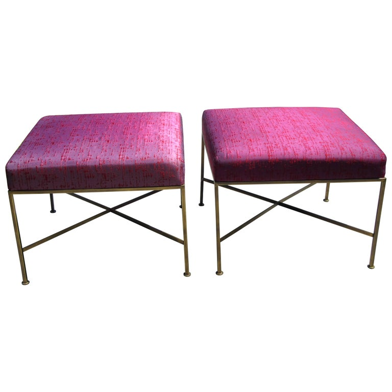 Pair of Paul McCobb Brass X-Base Stools 1
