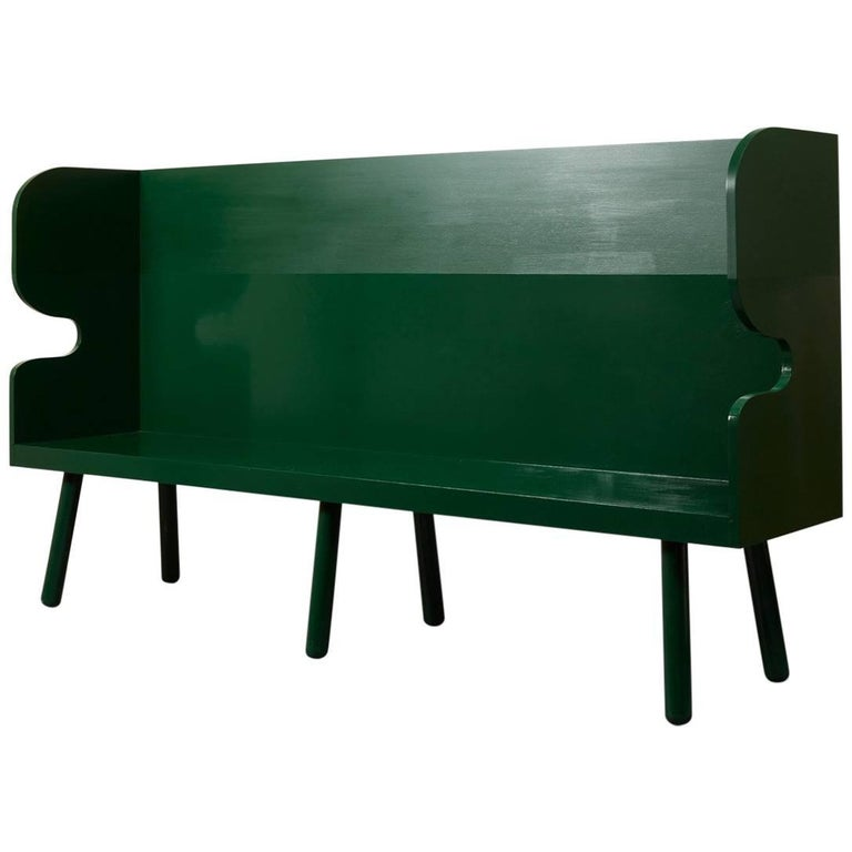 Green Hand-Painted Plank Settle Bench by Sue Skeen for the New Craftsmen