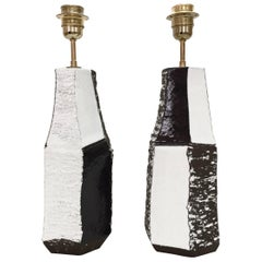 Pair of Ceramic Lamp Bases Glazed in Black and White