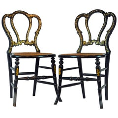 Pair of Lovely 19th Century Ebonized and Mother-of-Pearl Inlaid Bedroom Chairs