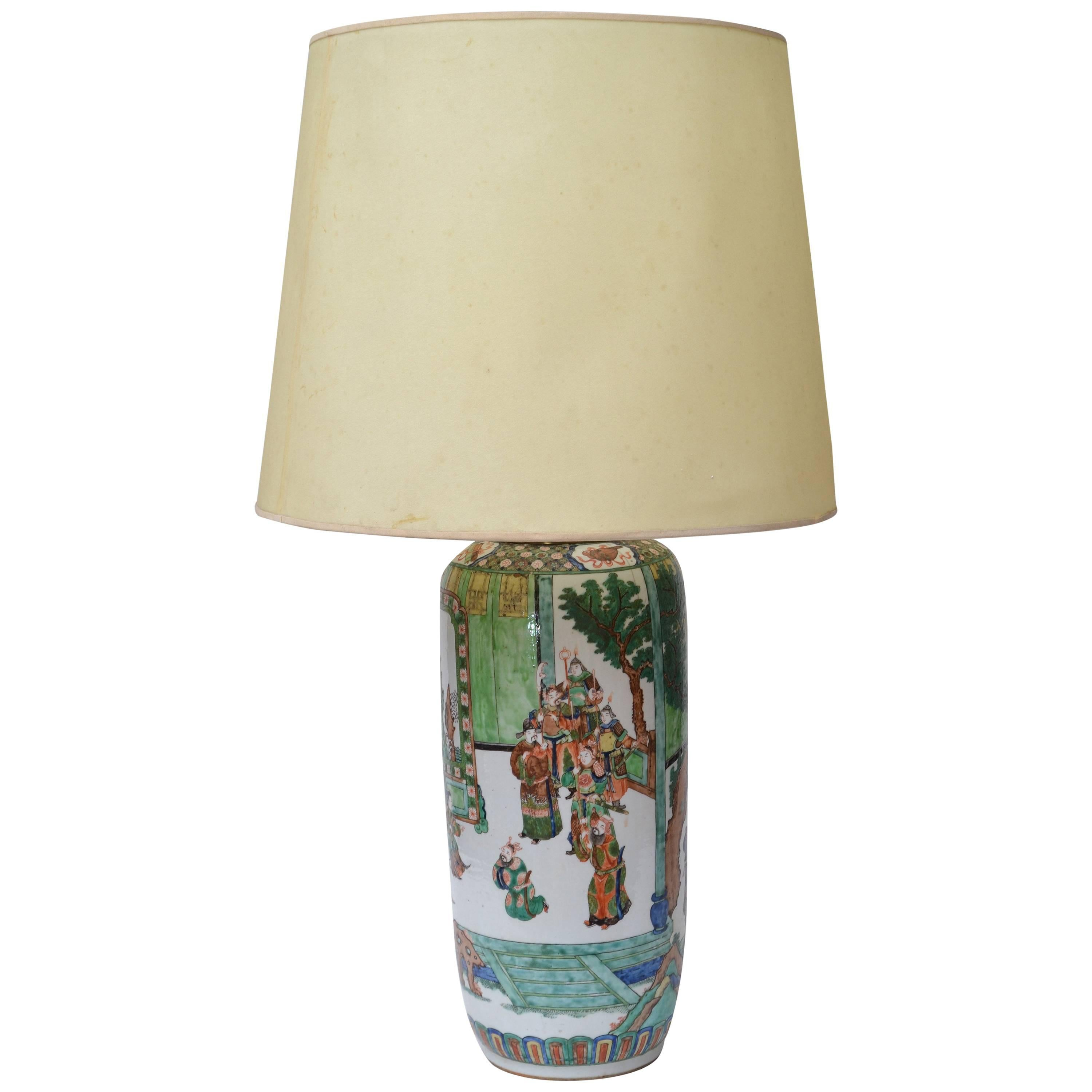 Signed Hand-Painted Chinese Porcelain Table Lamp with Original Shade