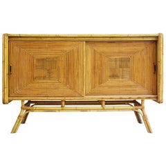 1960s, Parquetry Rattan and Bamboo Sideboard in the French 'Riviera' Style