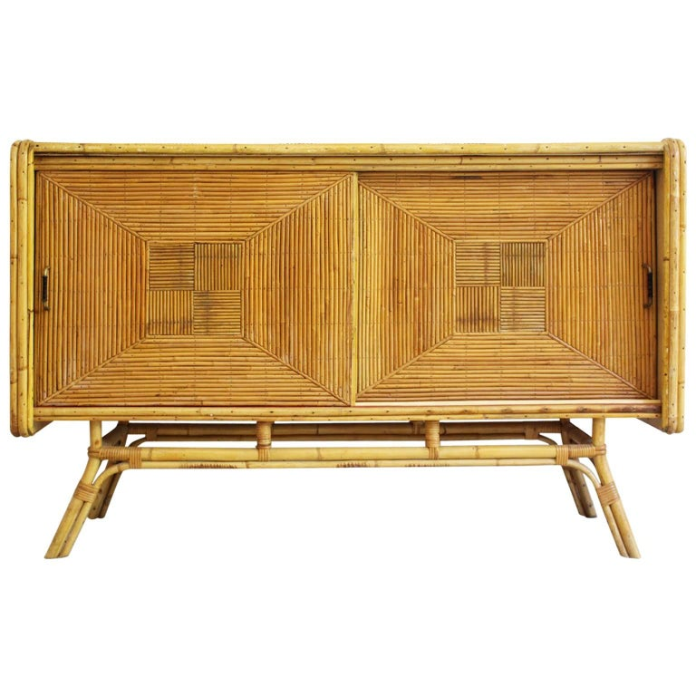 1960s Parquetry Rattan And Bamboo Sideboard In The French