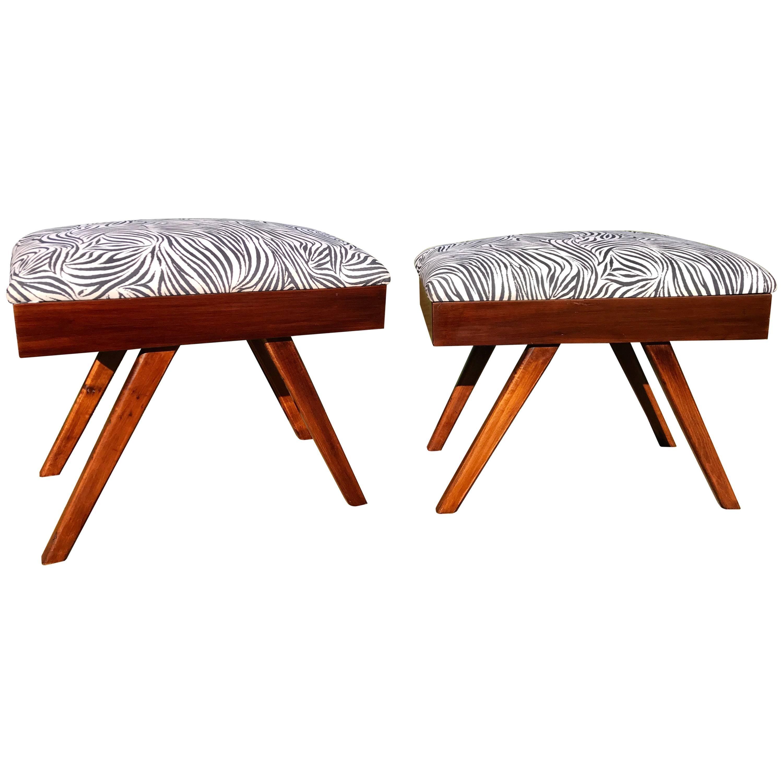 Pair Of Mid Century Modern Footstools