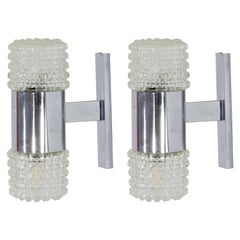 Pair of Midcentury Faceted Glass Sconces