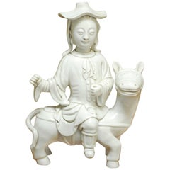 Chinese Dehua Blanc de Chine Porcelain Man on Horse