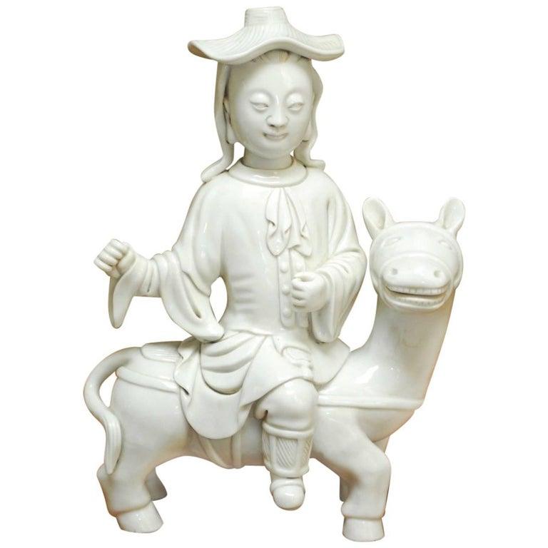 Chinese Dehua Blanc de Chine Porcelain Man on Horse