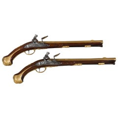 Pair of Pistols Coated with Gold, Dating from the Beginning of 18th Century