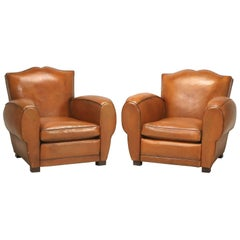 French Art Deco, Original  Moustache Leather Club Chairs, Correctly Restored