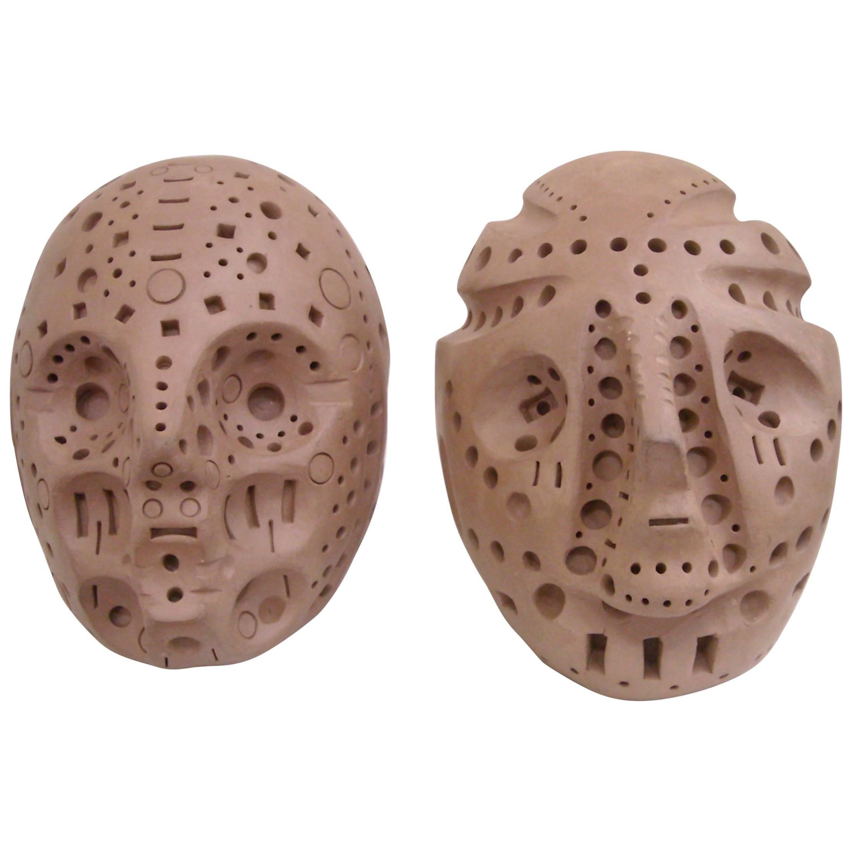 Alexander Ney Only One left,  Head Skulls in Terra-Cotta Sculpture S, Signed