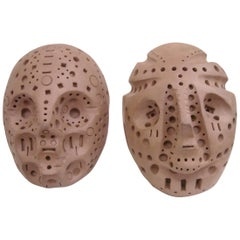 Alexander Ney Only One left,  Head Skulls in Terra-Cotta Sculpture S, Signed