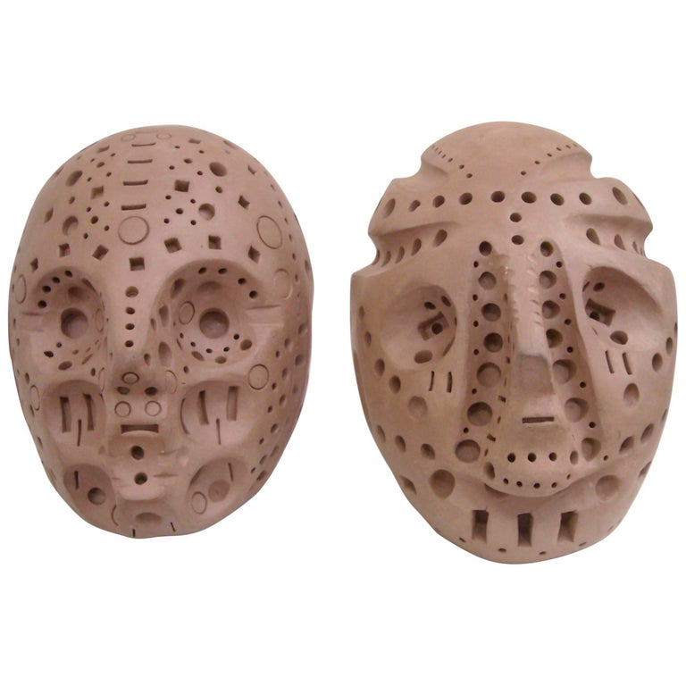 Alexander Ney Only One left,  Head Skulls in Terra-Cotta Sculpture S, Signed For Sale