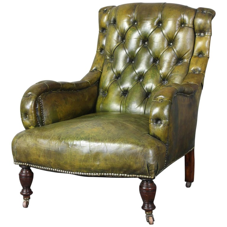 English Leather Library Chair 1