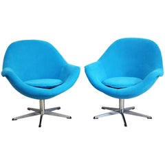 Pair of Blue 1960s Egg Pod Swivel Armchairs