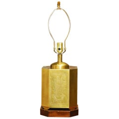 Chinese Incised Brass Tea Canister Table Lamp