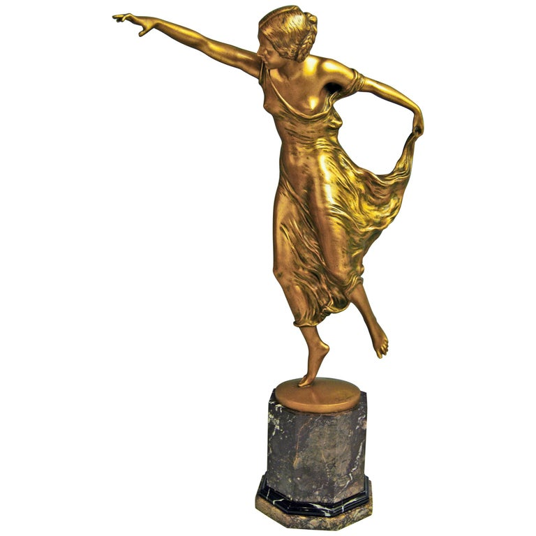 Bronze Lady Dancer by Poertzel Otto, Germany Made circa 1920-1925 For Sale