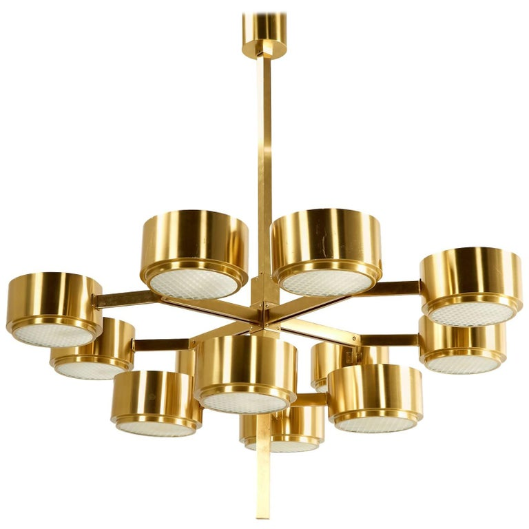 Hans-Agne Jakobsson Large Brass Chandelier for Markaryd in Sweden