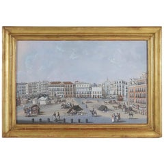 Early 19th Century Italian Gouache a Square from Naples, circa 1806-1810