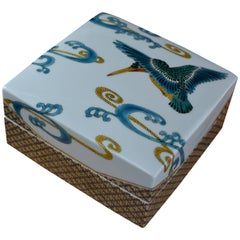Blue White Porcelain Box by Japanese Master Artist
