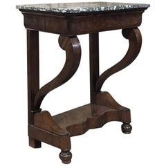 19th Century, French, Louis Philippe Mahogany Marble-Top Console