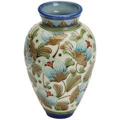 Burmantofts Faience Partie-Color Exotic Blooms Vase