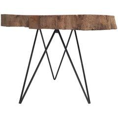 Mid-Century Modern Reclaimed Beech Trunk-Slab Custom-Made Table the Netherlands