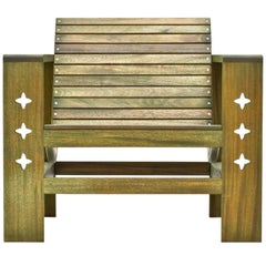 Uti 'Ooh-Tee' Chair in Mahogany with Evergreen Finish, Wooda Original Design