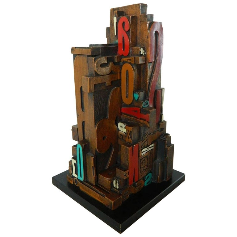 Mid-Century Modern Industrial Typeface Sculpture by Sheldon Rose 1