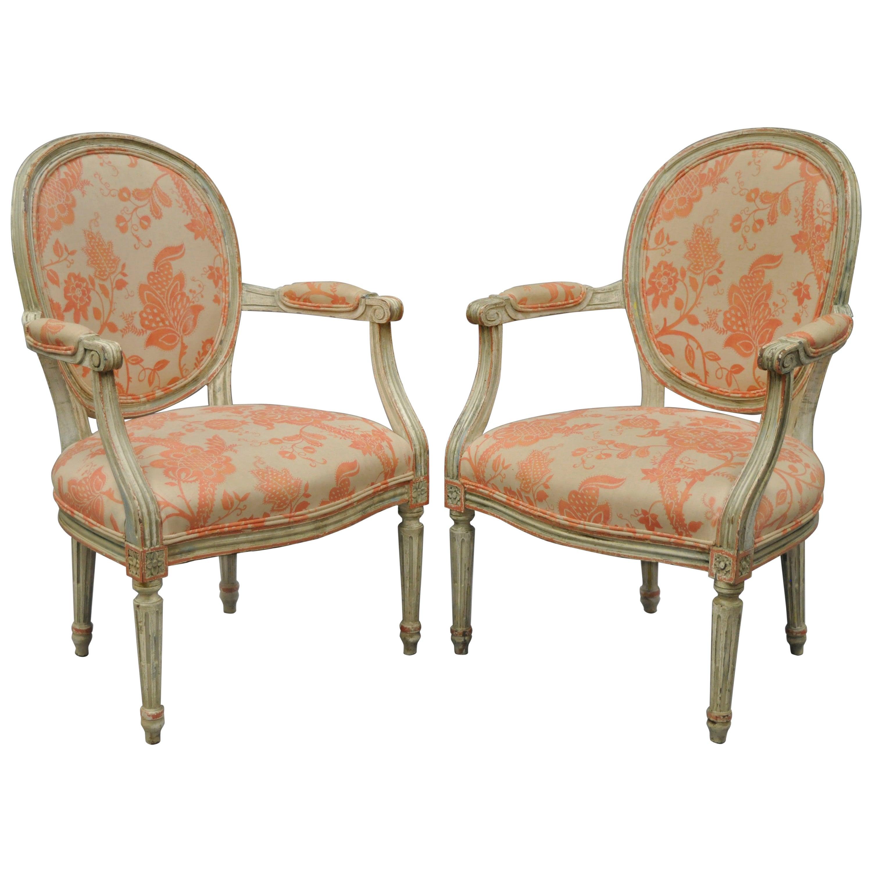 Pair French Louis XVI Cream Peach Green Distress Painted Fauteuil Arm Chairs