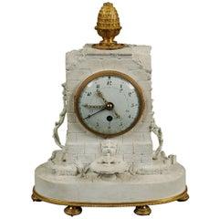Romantic Clock Sevres Bisque Porcelain, France, 1793