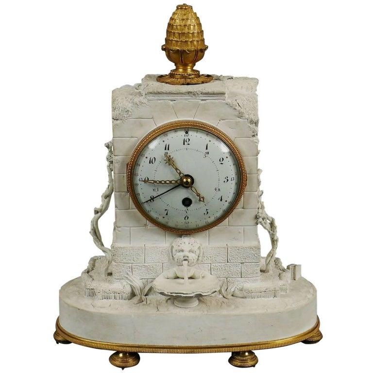 Romantic Clock Sevres Bisque Porcelain, France, 1793 For Sale