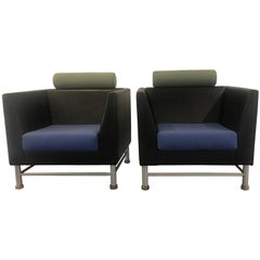 Ettore Sottsass Knoll East Side Chairs 1980s Leather