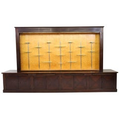 Large Mahogany Art Deco Haagse School Vitrine with Glass Sliding Doors, 1920s