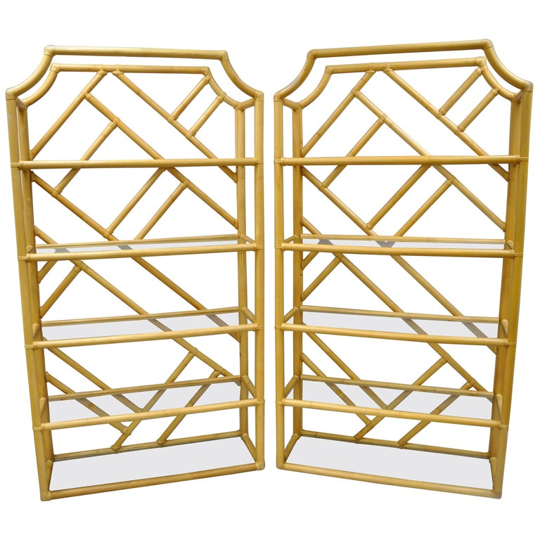 Pair of Tiki Hollywood Regency Bamboo Rattan Etagere Faux Bamboo Bookcase Shelf For Sale
