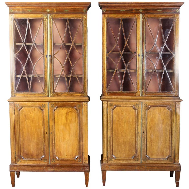 Pair of 19th Century Rosewood Bookcase Cabinets For Sale