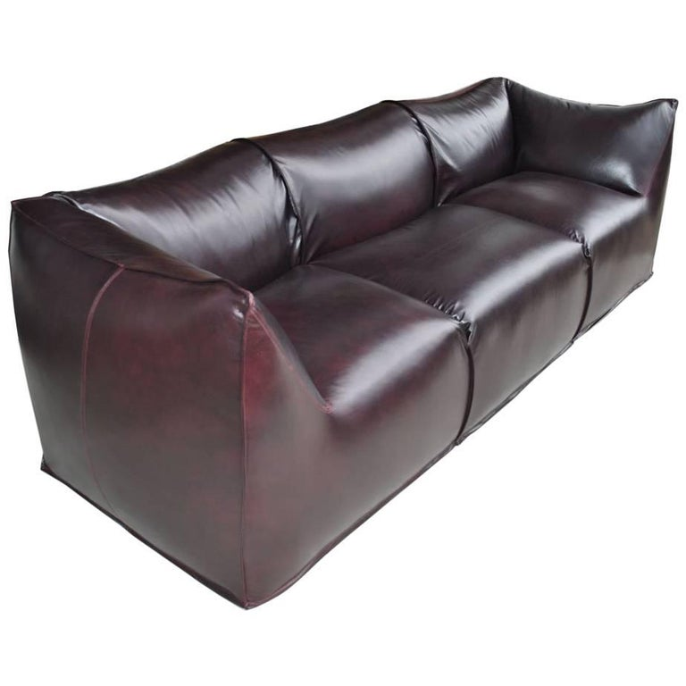 Modern Mario Bellini for Cassina La Bambole Three-Seat Leather Sofa 1