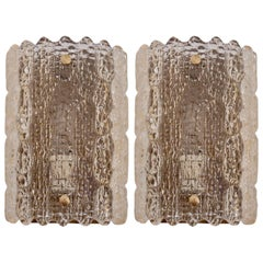 Pair of Brass Carl Fagerlund Wall Lamps by Lyfa and Orrefors in Yellowish Glass