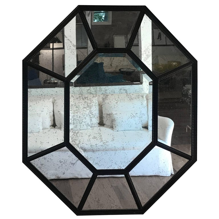 Large Black Hexagonal Mirror For Sale at 1stdibs