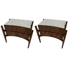 1960 William Hinn Pair of Two-Drawer Nightstands with Carrera Marble Top